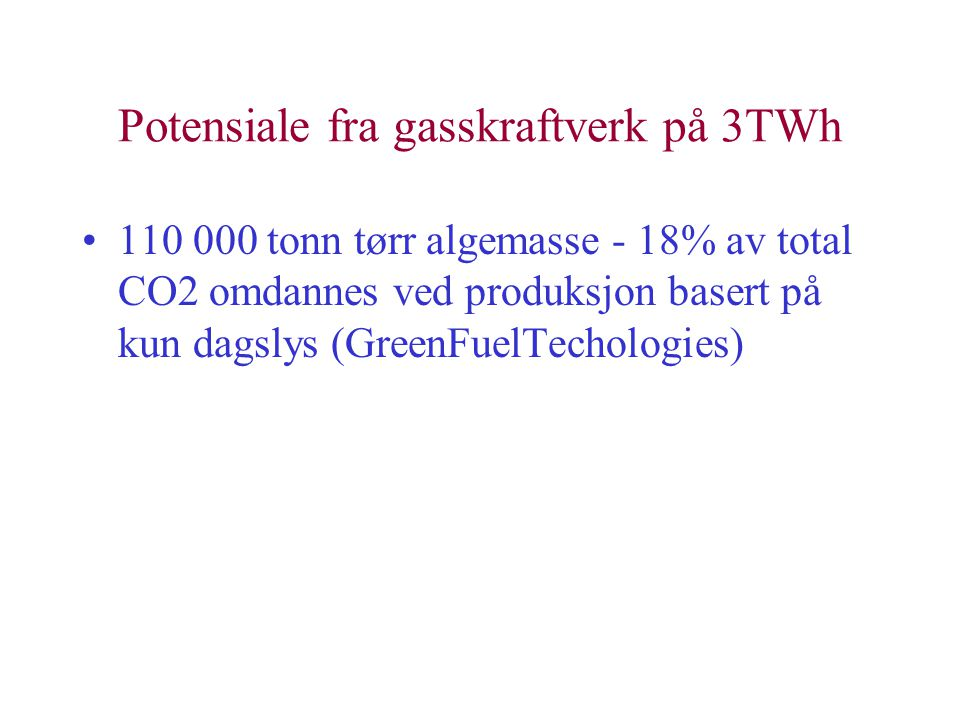Potensiale fra gasskraftverk på 3TWh