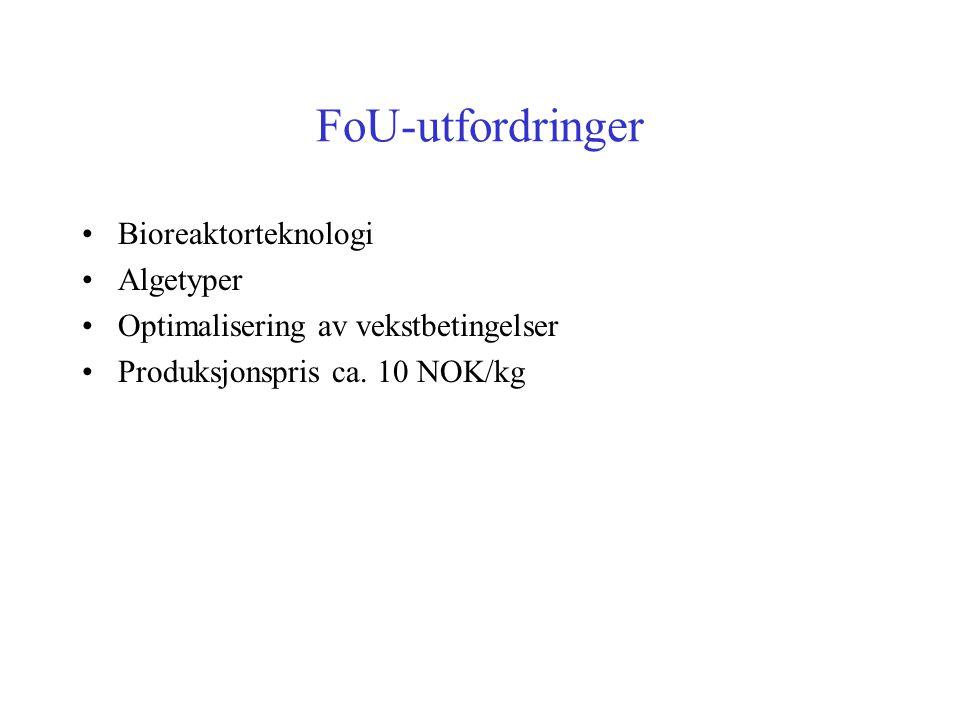 FoU-utfordringer Bioreaktorteknologi Algetyper