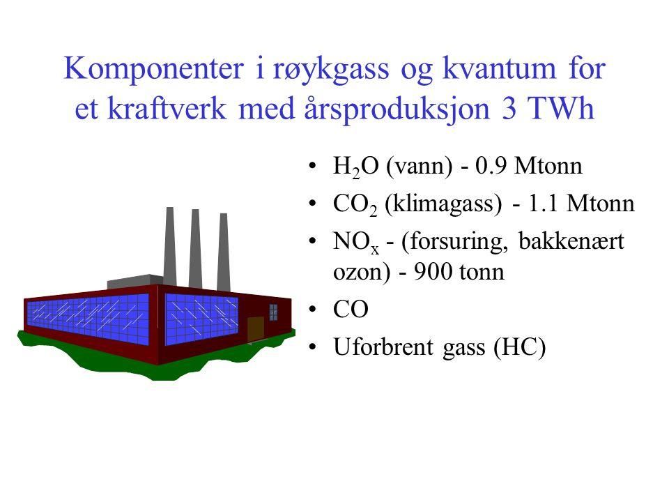 Komponenter i røykgass og kvantum for et kraftverk med årsproduksjon 3 TWh