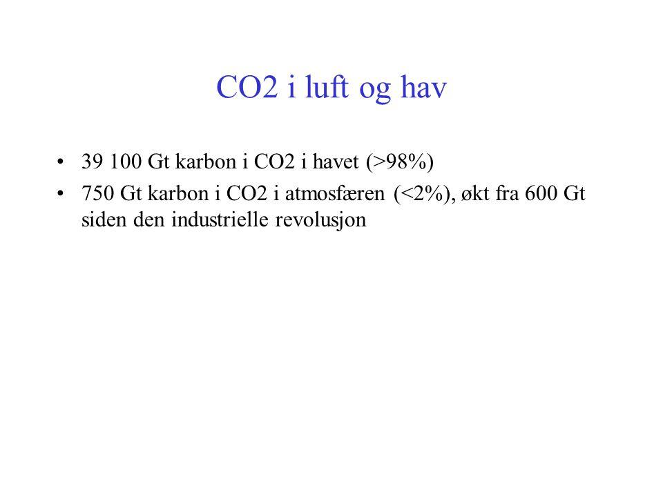 CO2 i luft og hav 39 100 Gt karbon i CO2 i havet (>98%)