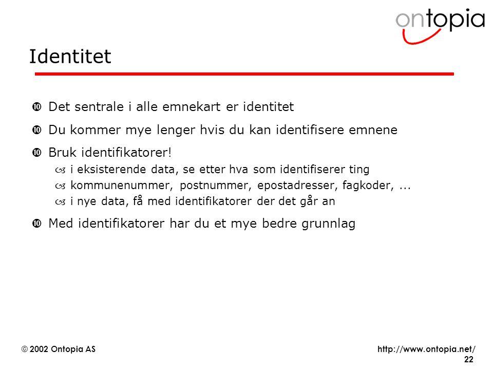 Identitet Det sentrale i alle emnekart er identitet