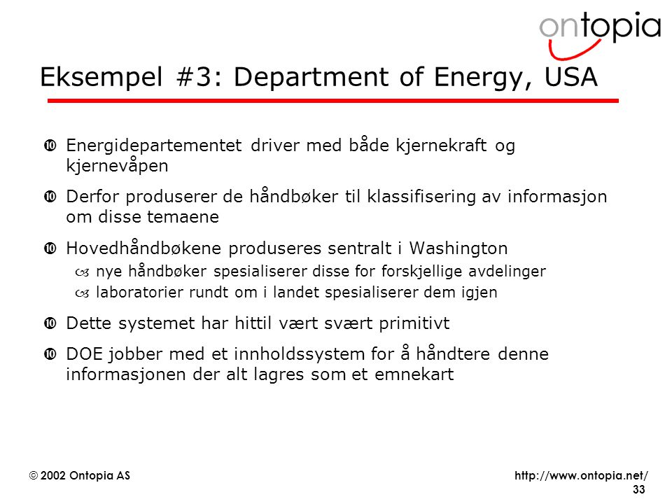 Eksempel #3: Department of Energy, USA
