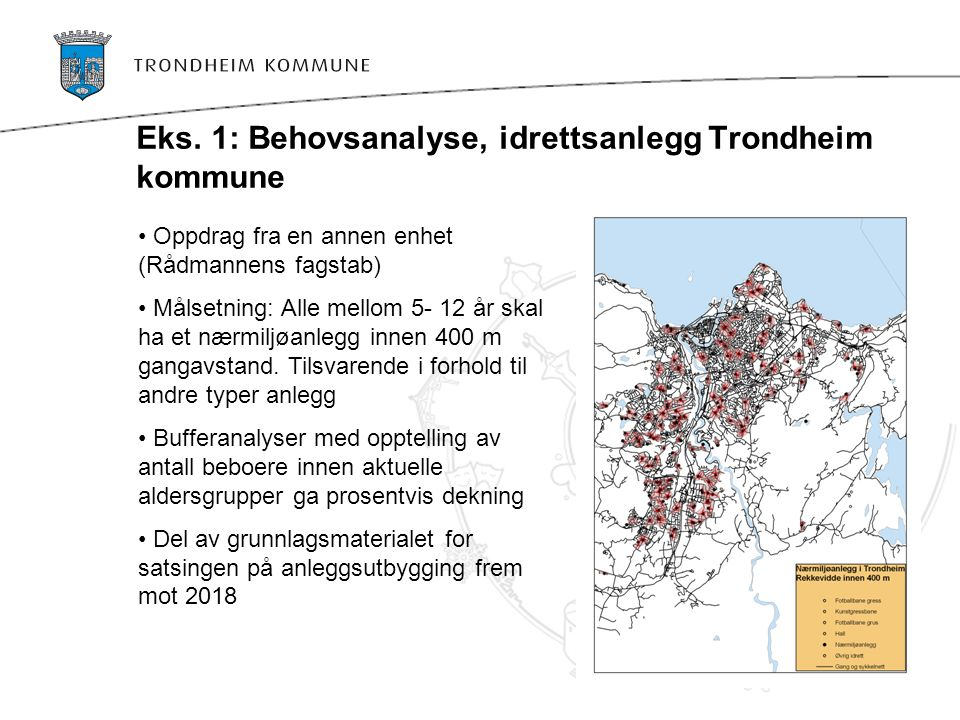 Eks. 1: Behovsanalyse, idrettsanlegg Trondheim kommune