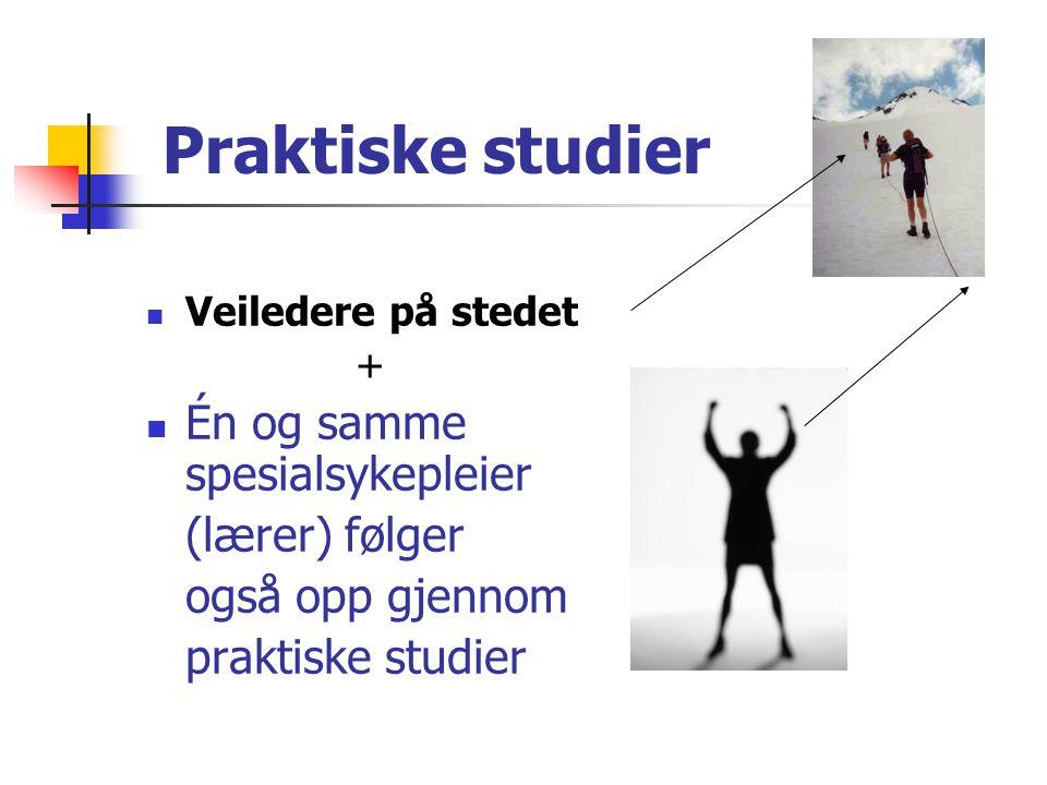 Praktiske studier Én og samme spesialsykepleier (lærer) følger