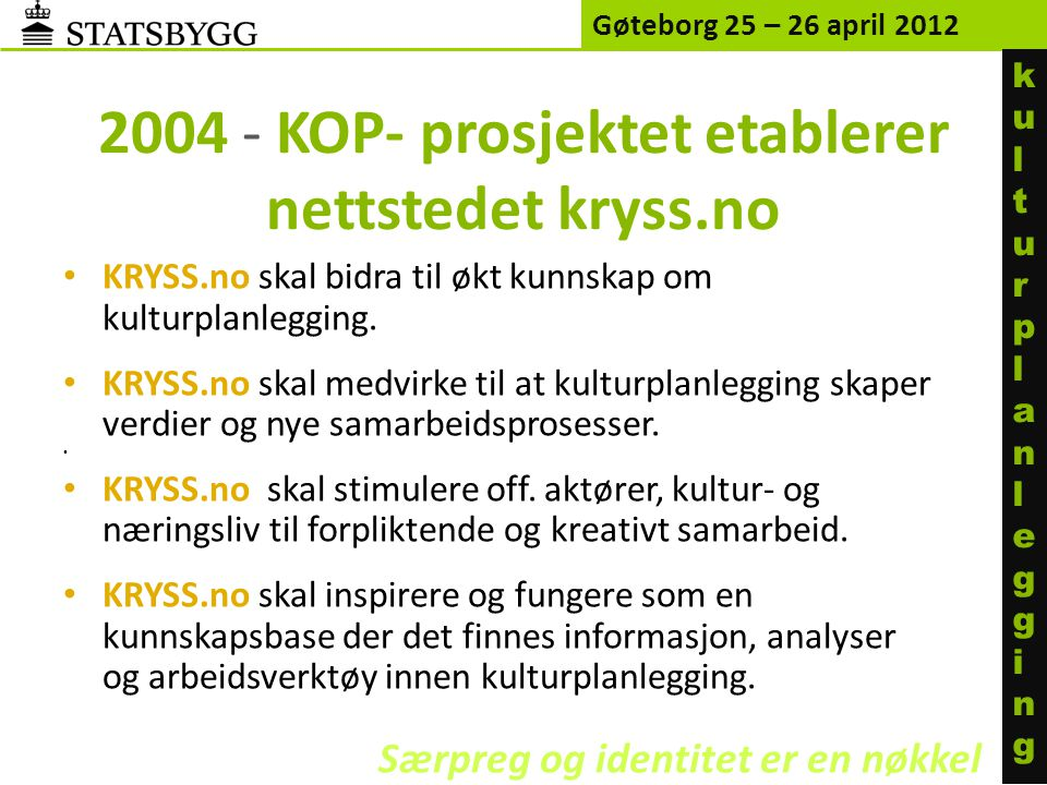 2004 - KOP- prosjektet etablerer nettstedet kryss.no