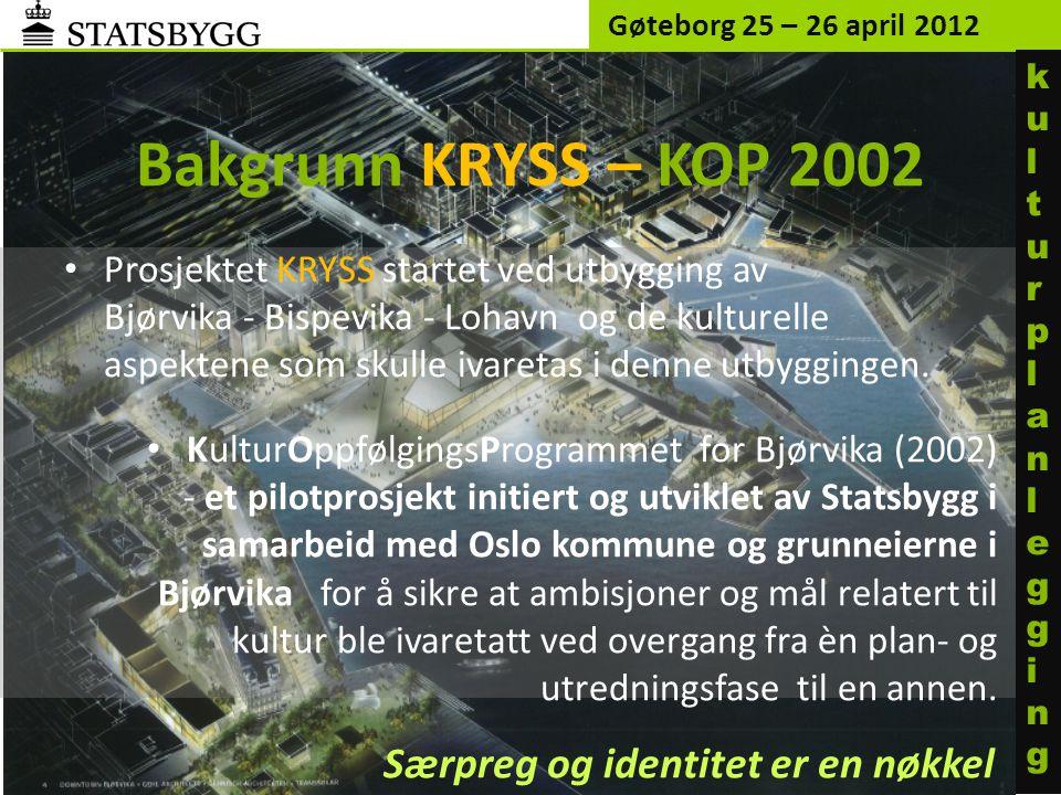 Bakgrunn KRYSS – KOP 2002 Særpreg og identitet er en nøkkel