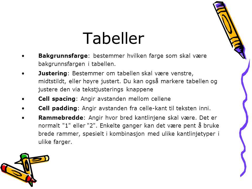 Tabeller Bakgrunnsfarge: bestemmer hvilken farge som skal være bakgrunnsfargen i tabellen.