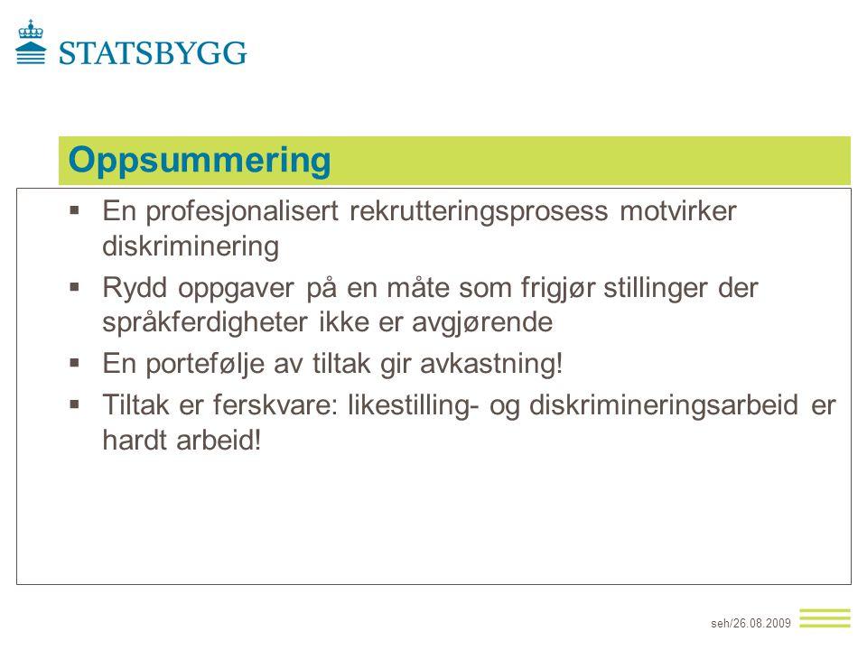 Oppsummering En profesjonalisert rekrutteringsprosess motvirker diskriminering.