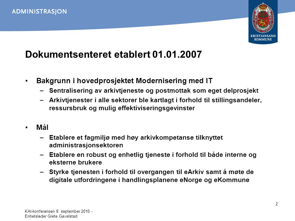 Dokumentsenteret etablert 01.01.2007