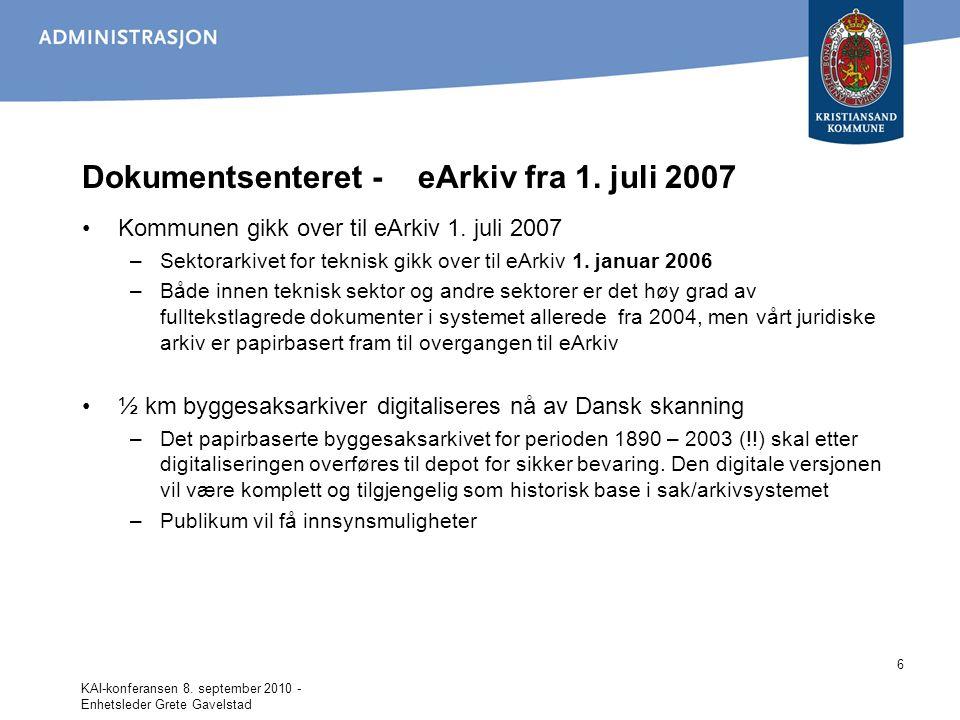 Dokumentsenteret - eArkiv fra 1. juli 2007