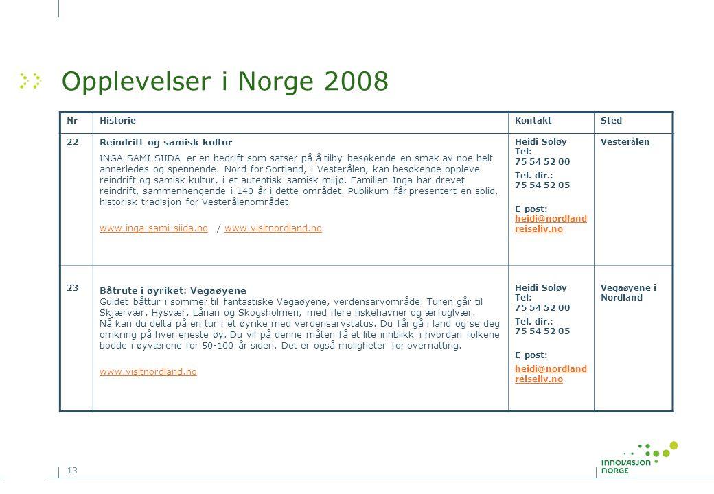 Opplevelser i Norge 2008 Reindrift og samisk kultur