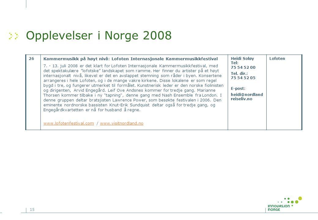 Opplevelser i Norge 2008 26. Kammermusikk på høyt nivå: Lofoten Internasjonale Kammermusikkfestival.