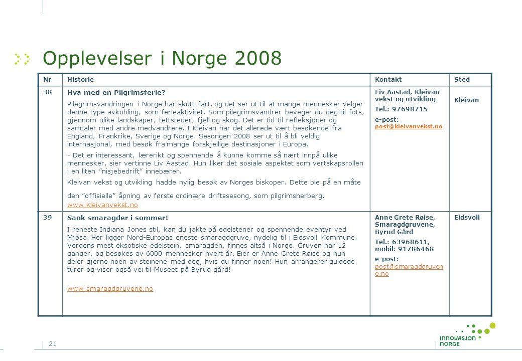 Opplevelser i Norge 2008 Hva med en Pilgrimsferie