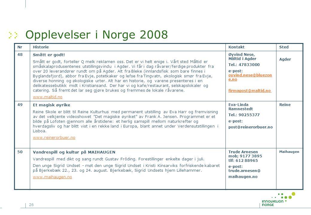 Opplevelser i Norge 2008 Smått er godt!