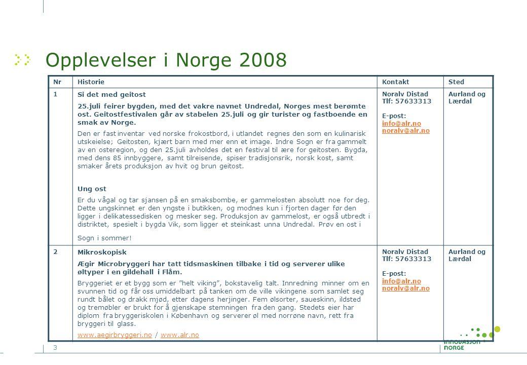 Opplevelser i Norge 2008 Si det med geitost