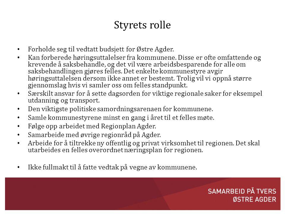 Styrets rolle Forholde seg til vedtatt budsjett for Østre Agder.