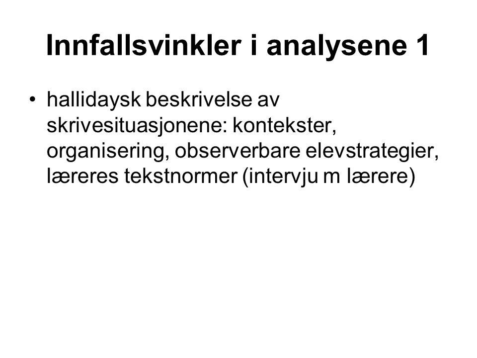 Innfallsvinkler i analysene 1