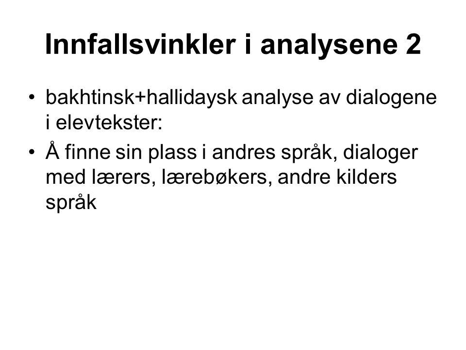 Innfallsvinkler i analysene 2