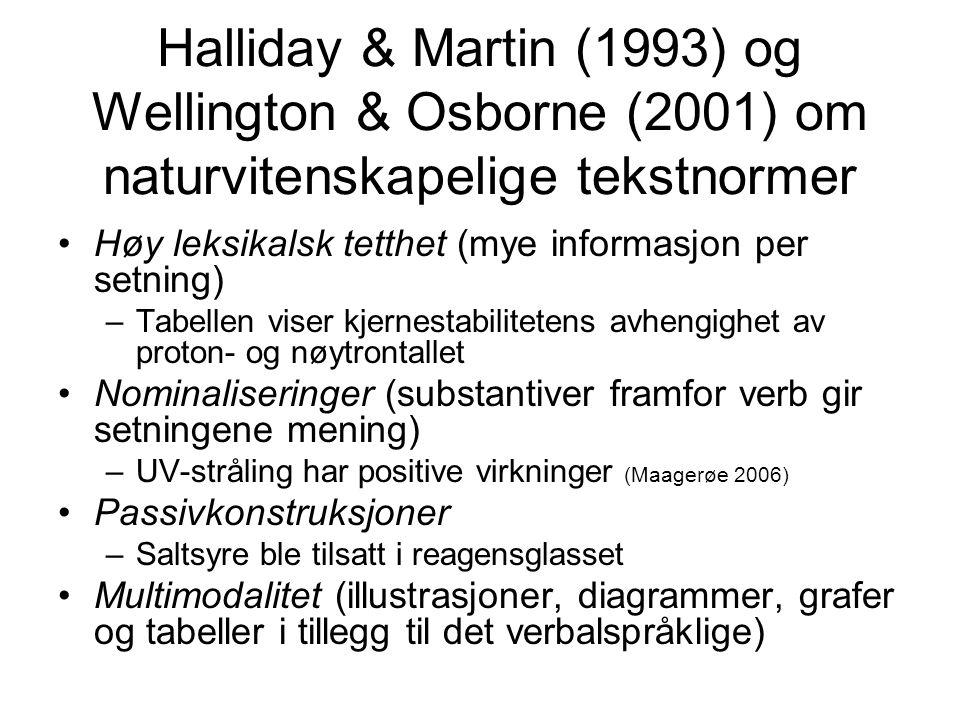 Halliday & Martin (1993) og Wellington & Osborne (2001) om naturvitenskapelige tekstnormer