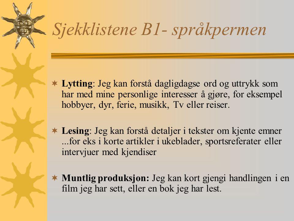Sjekklistene B1- språkpermen