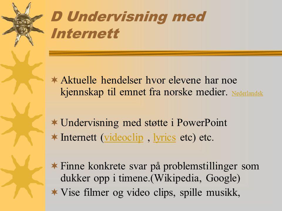 D Undervisning med Internett