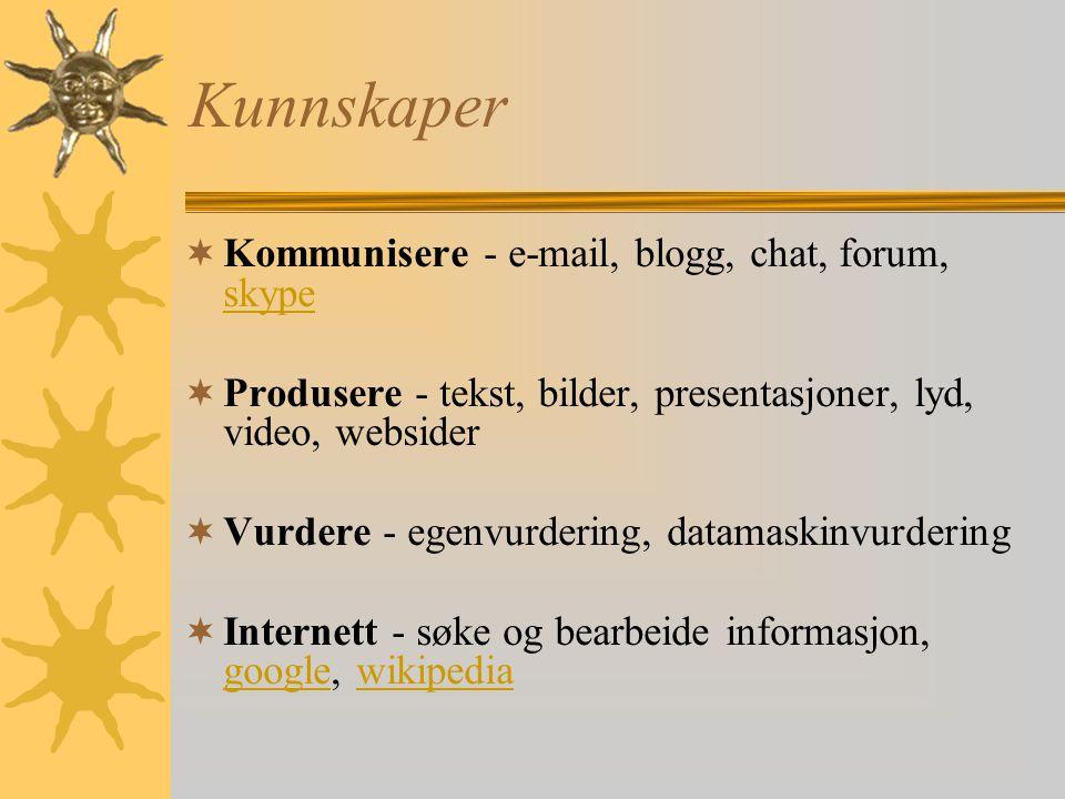 Kunnskaper Kommunisere - e-mail, blogg, chat, forum, skype