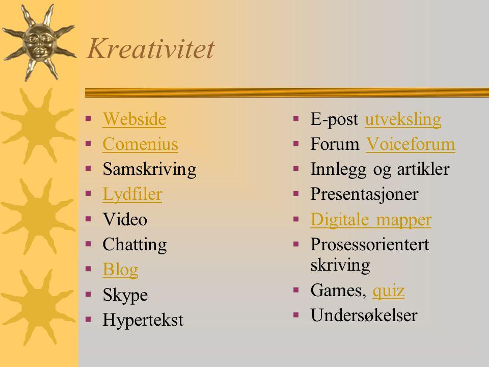 Kreativitet Webside Comenius Samskriving Lydfiler Video Chatting Blog