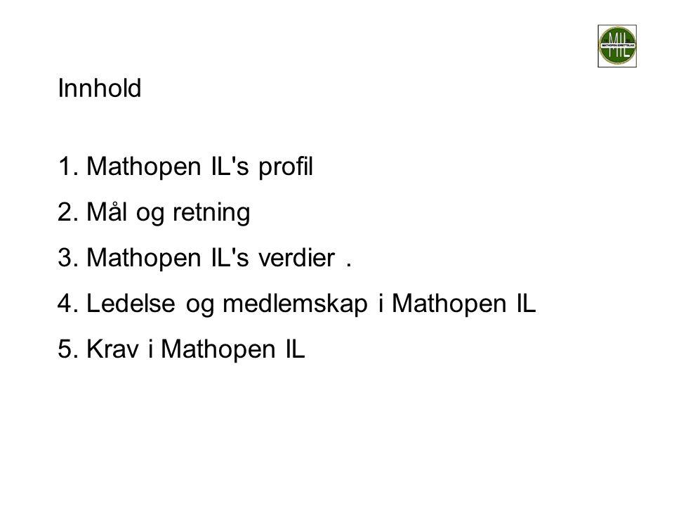 Innhold 1. Mathopen IL s profil. 2. Mål og retning. 3. Mathopen IL s verdier . 4. Ledelse og medlemskap i Mathopen IL.