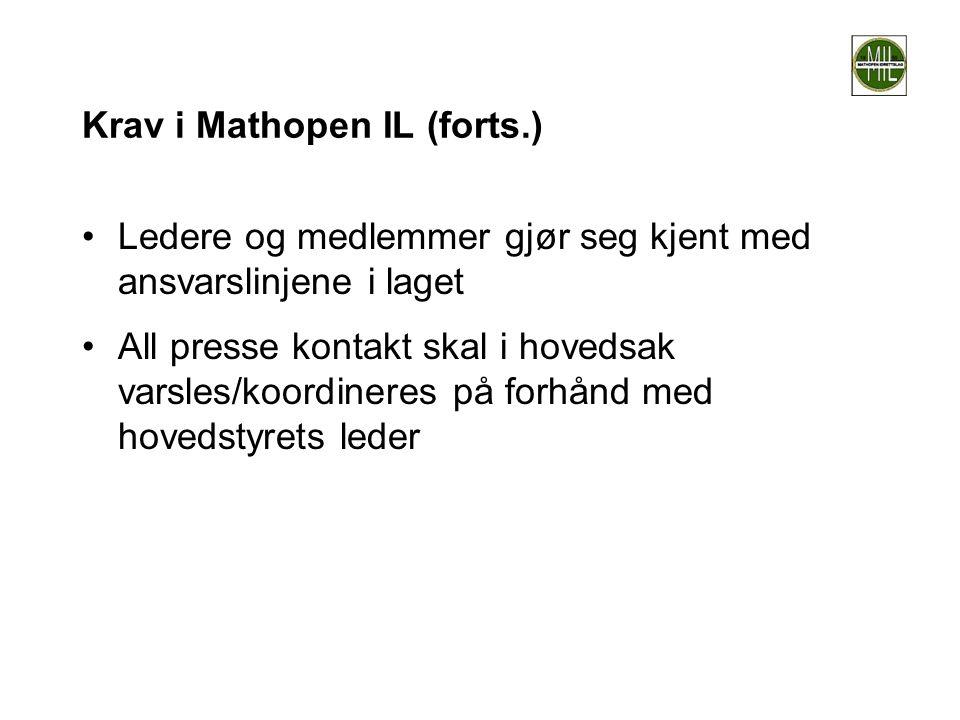 Krav i Mathopen IL (forts.)