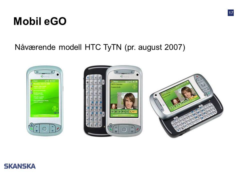 Mobil eGO Nåværende modell HTC TyTN (pr. august 2007)