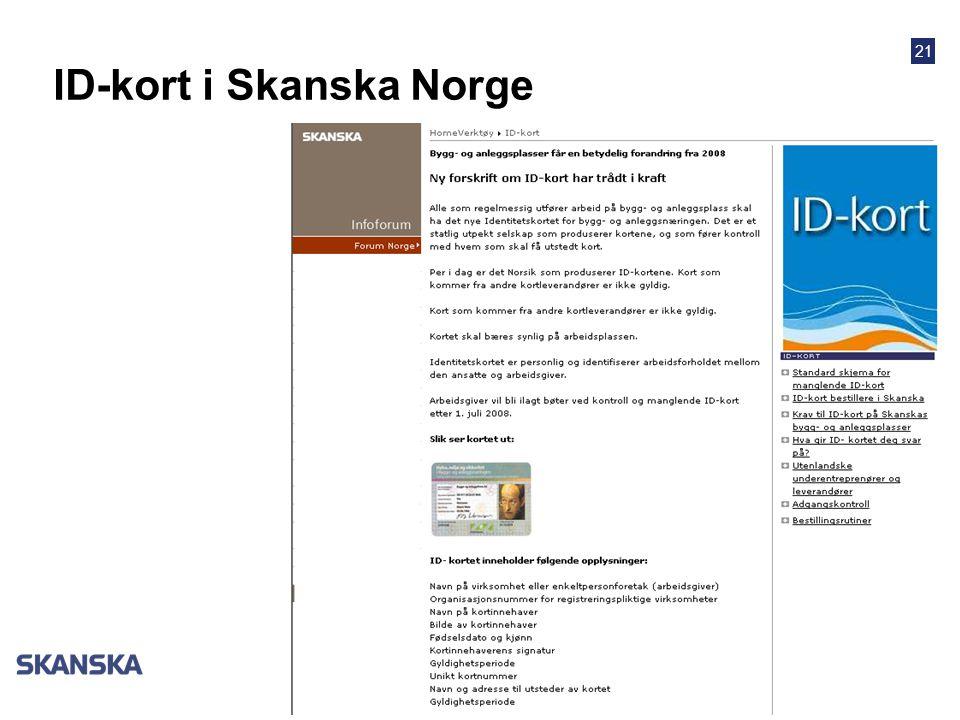 ID-kort i Skanska Norge