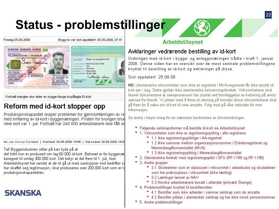 Status - problemstillinger