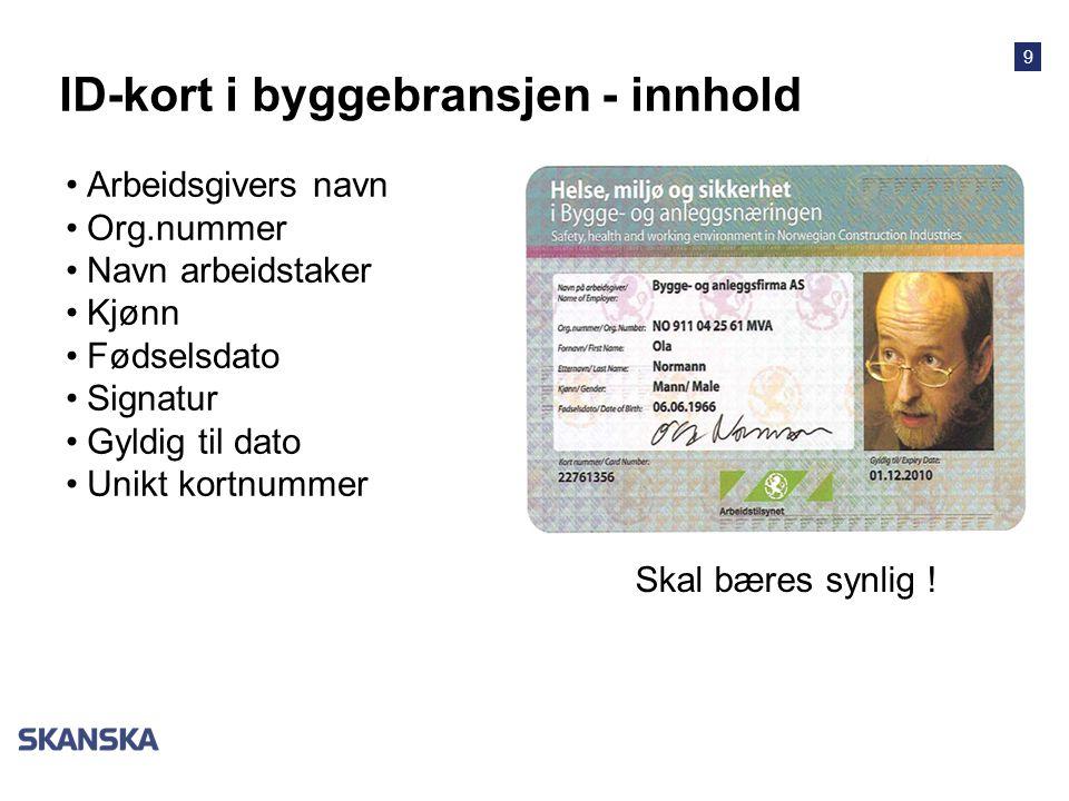 ID-kort i byggebransjen - innhold