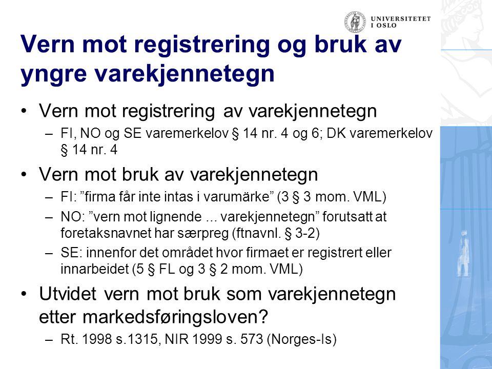Vern mot registrering og bruk av yngre varekjennetegn