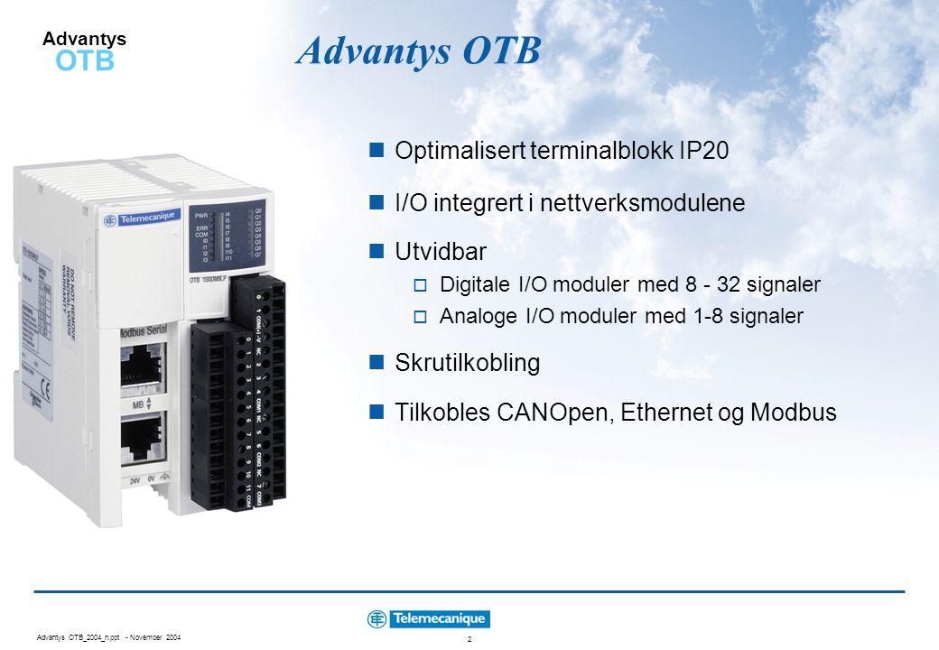 Advantys OTB Optimalisert terminalblokk IP20