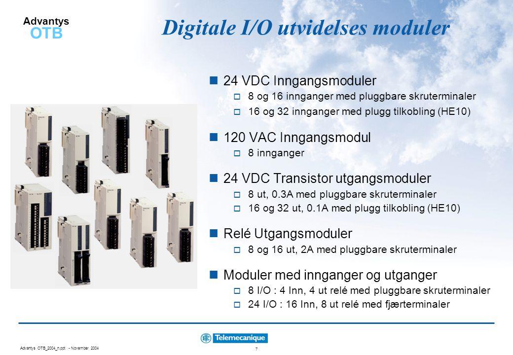 Digitale I/O utvidelses moduler