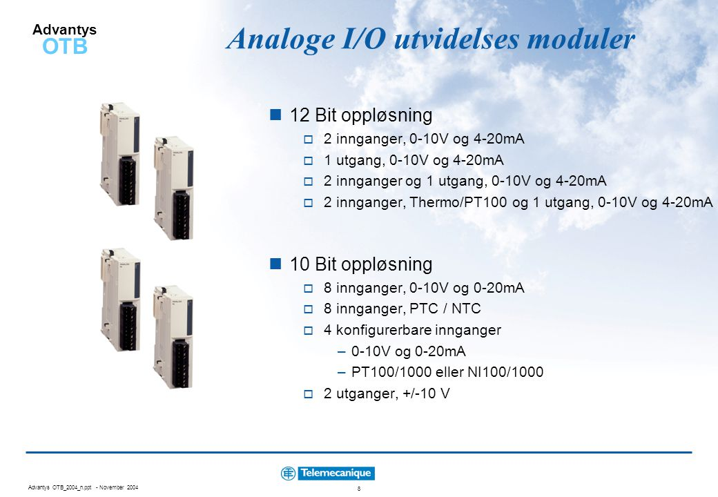 Analoge I/O utvidelses moduler
