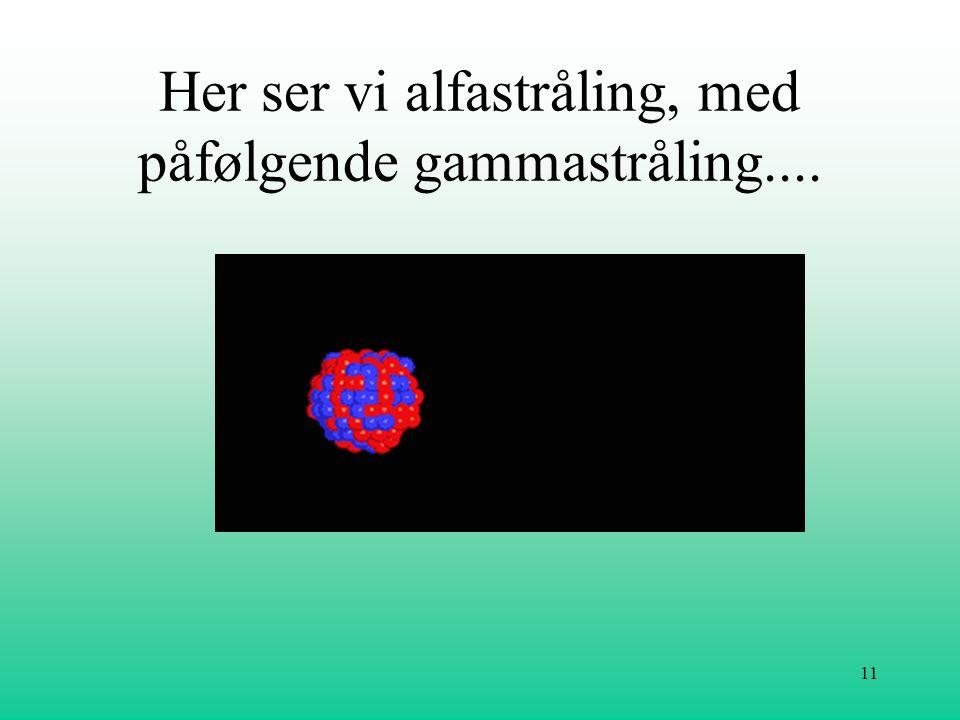 Her ser vi alfastråling, med påfølgende gammastråling....