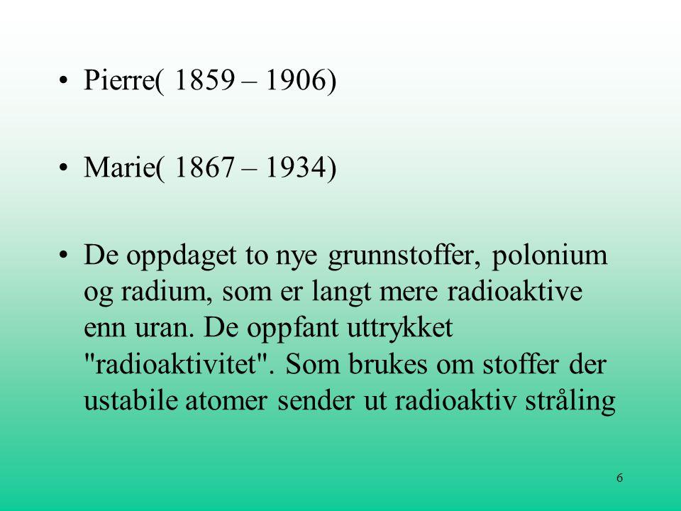 Pierre( 1859 – 1906) Marie( 1867 – 1934)