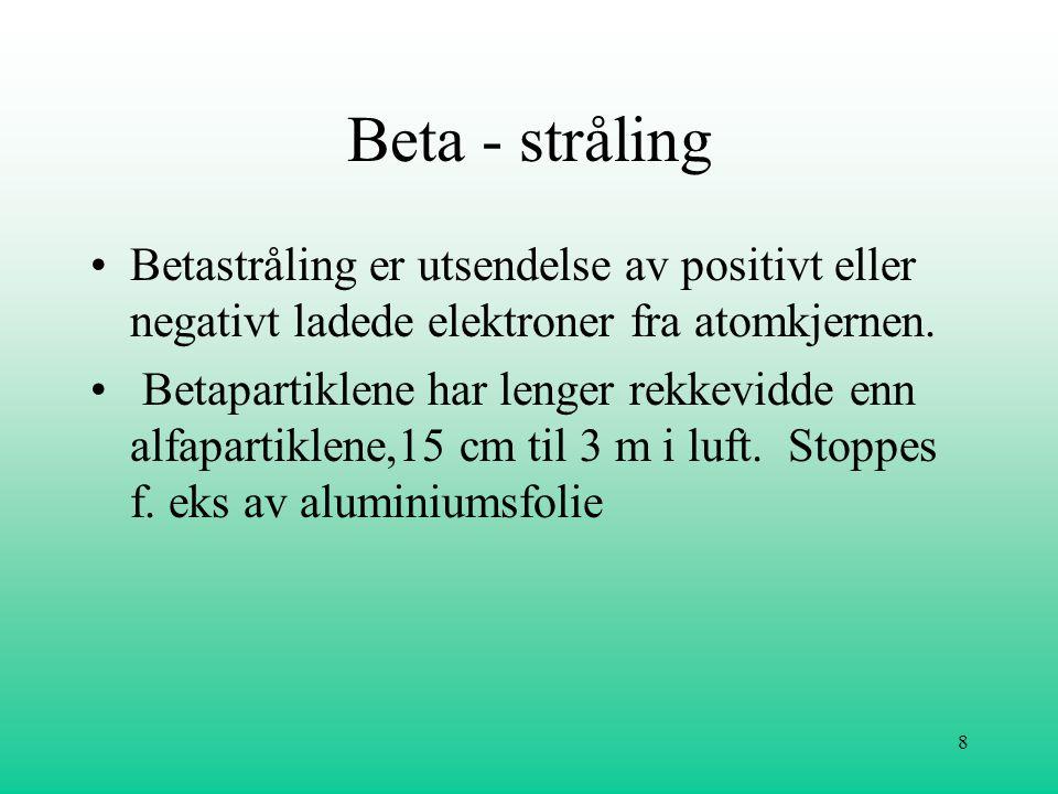 Beta - stråling Betastråling er utsendelse av positivt eller negativt ladede elektroner fra atomkjernen.