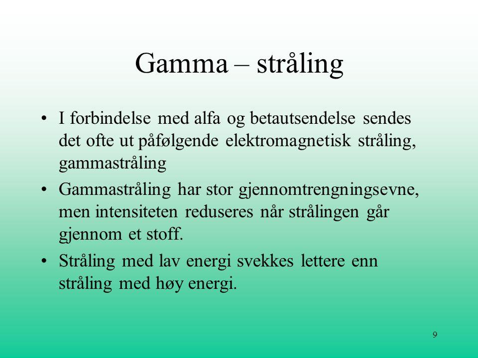 Gamma – stråling I forbindelse med alfa og betautsendelse sendes det ofte ut påfølgende elektromagnetisk stråling, gammastråling.