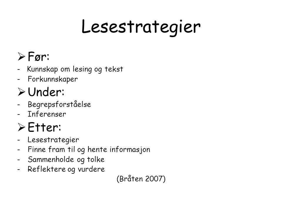 Lesestrategier Før: Under: Etter: - Kunnskap om lesing og tekst