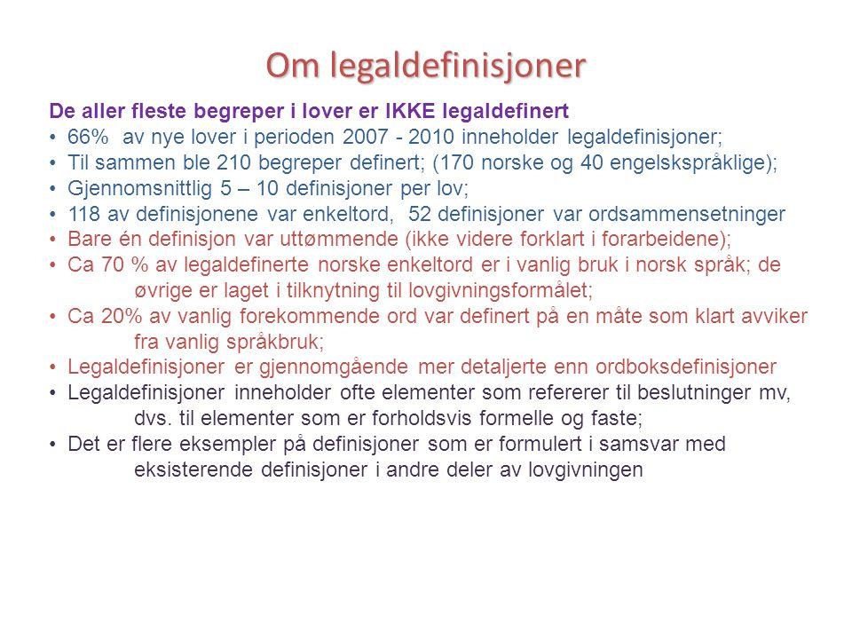 Om legaldefinisjoner De aller fleste begreper i lover er IKKE legaldefinert. 66% av nye lover i perioden 2007 - 2010 inneholder legaldefinisjoner;