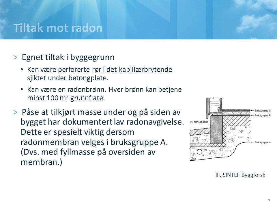 Tiltak mot radon Egnet tiltak i byggegrunn