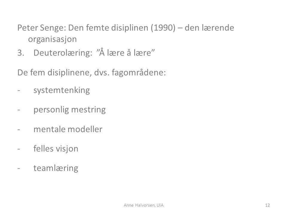 Peter Senge: Den femte disiplinen (1990) – den lærende organisasjon