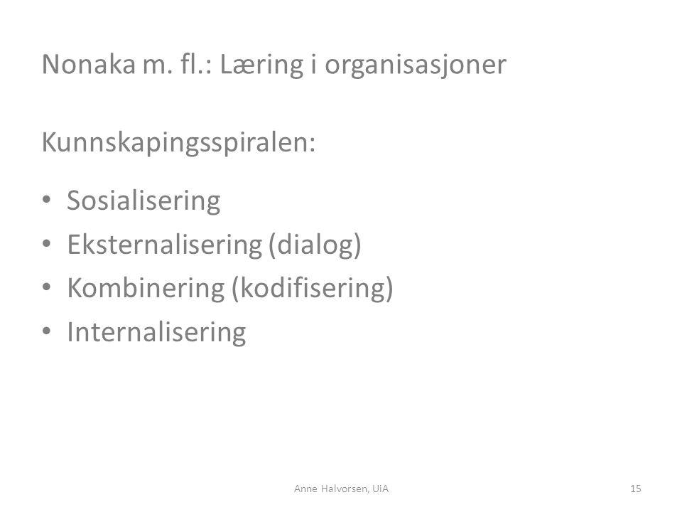 Nonaka m. fl.: Læring i organisasjoner