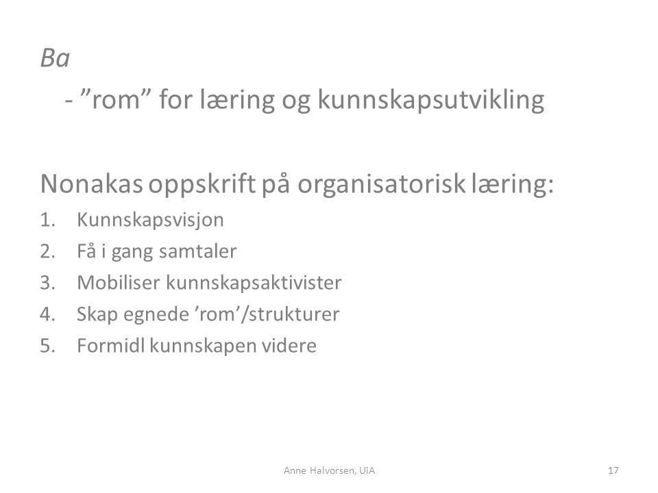 - rom for læring og kunnskapsutvikling