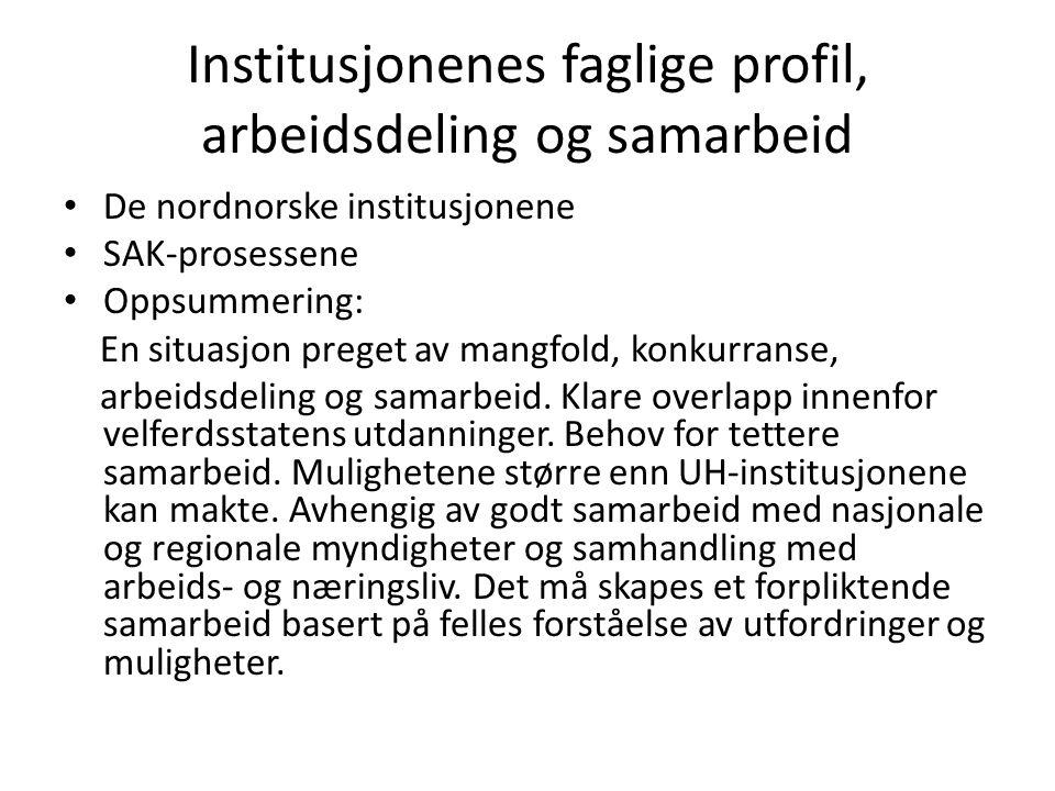 Institusjonenes faglige profil, arbeidsdeling og samarbeid