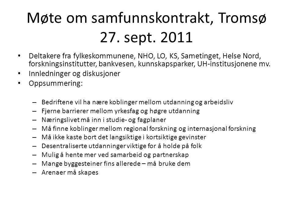Møte om samfunnskontrakt, Tromsø 27. sept. 2011