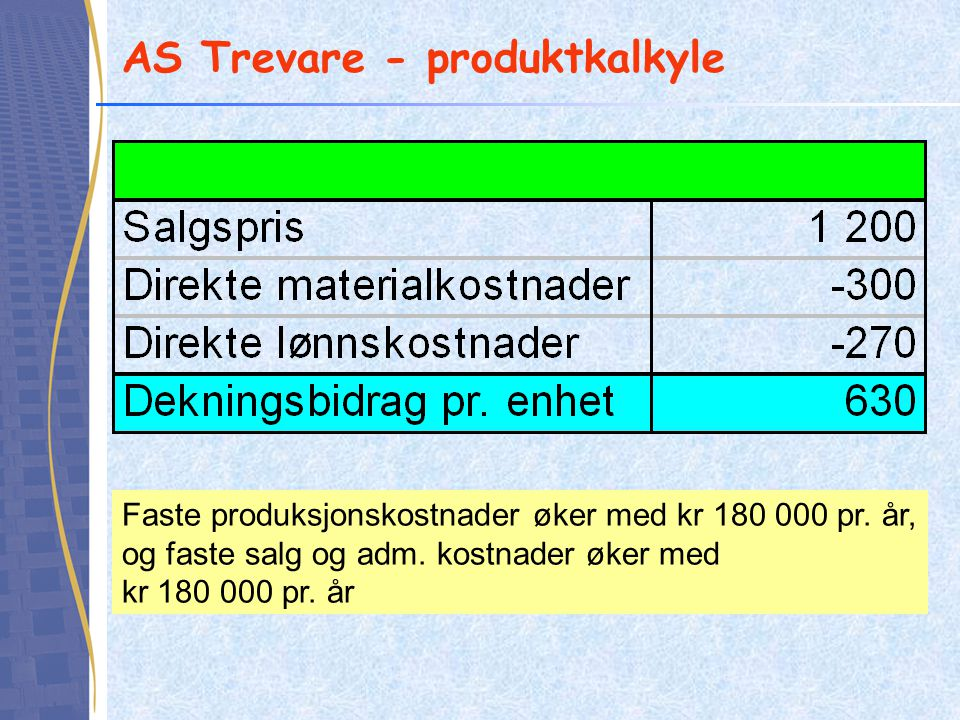 AS Trevare - produktkalkyle